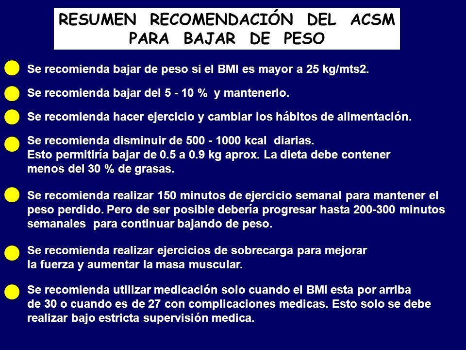 RESUMEN RECOMENDACIÓN DEL ACSM PARA BAJAR DE PESO Se recomienda bajar de peso si el BMI es mayor a 25 kg/mts2. Se recomienda bajar del 5 - 10 % y mant