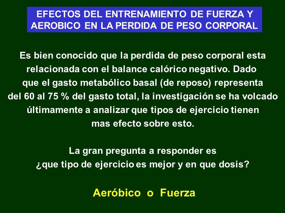 Gasto energético - Conclusiones Dolezal 98 EFECTOS DEL ENTRENAMIENTO DE FUERZA Y AEROBICO EN LA PERDIDA DE PESO CORPORAL Fuerza 7613 ± 968 4.12 ± 0.21 4.87 ± 0.19 Antes entrenamientoDespués entrenamiento Kj / día Kj / kg Peso Kj / kg magra T.M.B Aeróbico 7231 ± 554 4.07 ± 0.19 4.62 ± 0.21 Combinado 7454 ± 964 4.28 ± 0.32 4.88 ± 0.4 Fuerza 8090 ± 951 4.28 ± 0.24 5.01 ± 0.26 Aeróbico 7029 ± 666 4.1 ± 0.21 4.53 ± 0.24 Combinado 7801 ± 980 4.44 ± 0.33 4.87 ± 0.37 Fuerza 76.9 ± 7.4 15.4 ± 2.7 65 ± 6.7 11.9 ± 2.3 Peso Kg % grasa M.