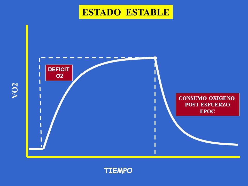 ESTADO ESTABLE TIEMPO DEFICIT O2 VO2 CONSUMO OXIGENO POST ESFUERZO EPOC