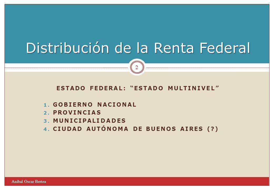 ESTADO FEDERAL: ESTADO MULTINIVEL 1. GOBIERNO NACIONAL 2. PROVINCIAS 3. MUNICIPALIDADES 4. CIUDAD AUTÓNOMA DE BUENOS AIRES (?) Distribución de la Rent