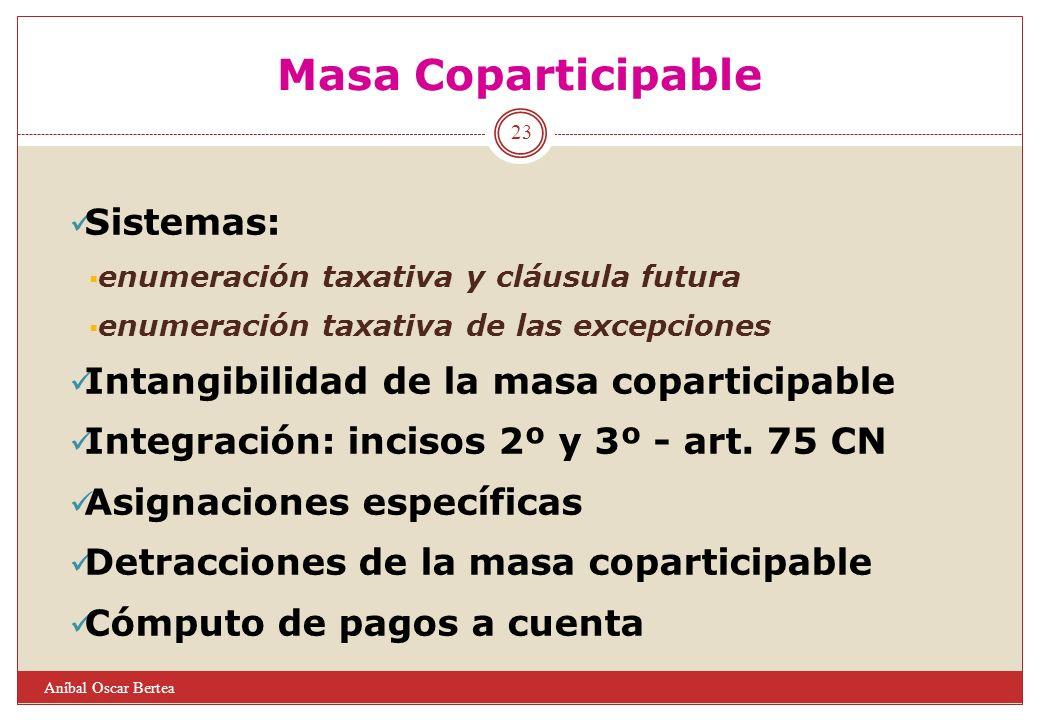 Masa Coparticipable Sistemas: enumeración taxativa y cláusula futura enumeración taxativa de las excepciones Intangibilidad de la masa coparticipable