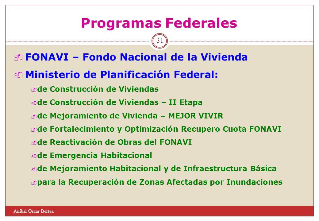 31 Programas Federales Aníbal Oscar Bertea FONAVI – Fondo Nacional de la Vivienda Ministerio de Planificación Federal: de Construcción de Viviendas de