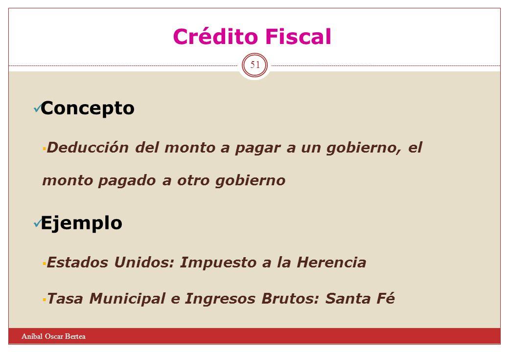 Crédito Fiscal Concepto Deducción del monto a pagar a un gobierno, el monto pagado a otro gobierno Ejemplo Estados Unidos: Impuesto a la Herencia Tasa