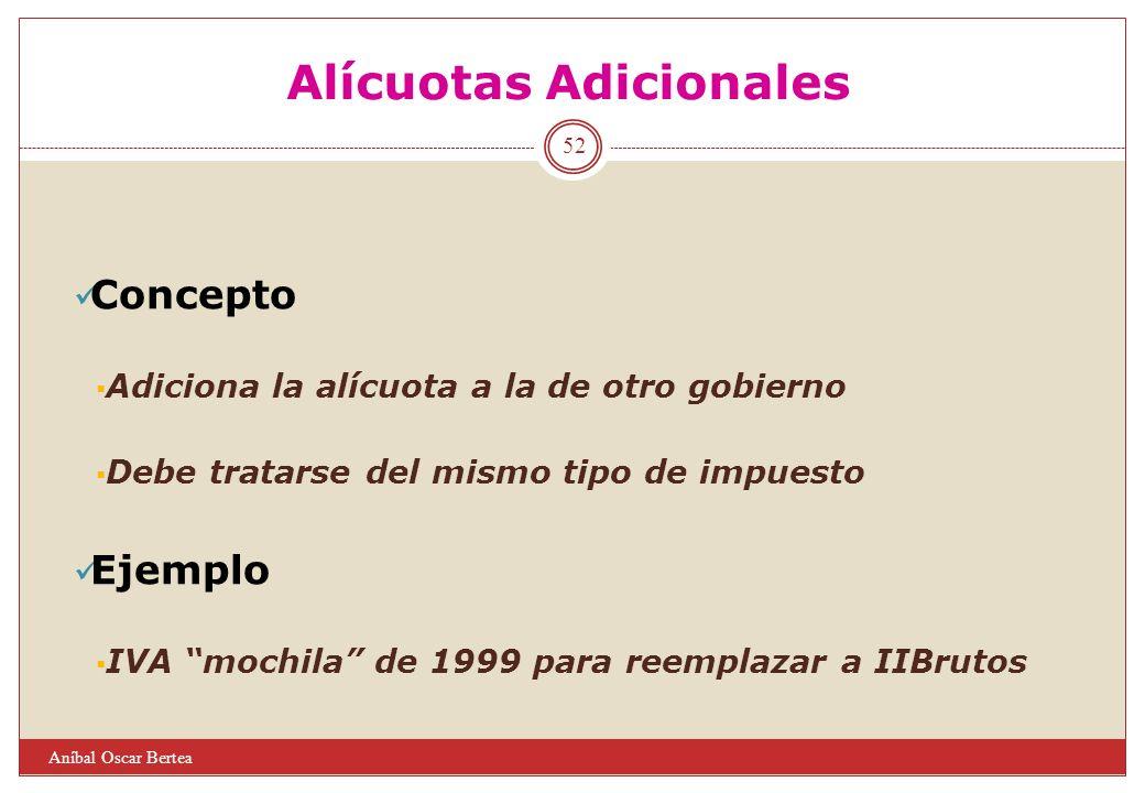 Alícuotas Adicionales Concepto Adiciona la alícuota a la de otro gobierno Debe tratarse del mismo tipo de impuesto Ejemplo IVA mochila de 1999 para re