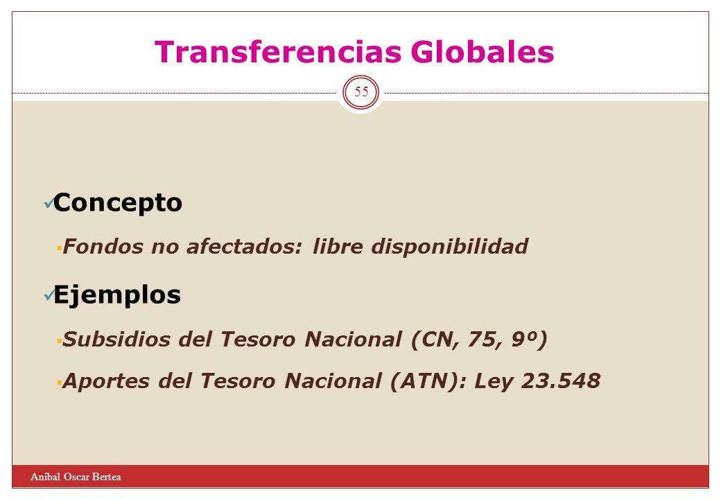 Transferencias Globales Concepto Fondos no afectados: libre disponibilidad Ejemplos Subsidios del Tesoro Nacional (CN, 75, 9º) Aportes del Tesoro Naci