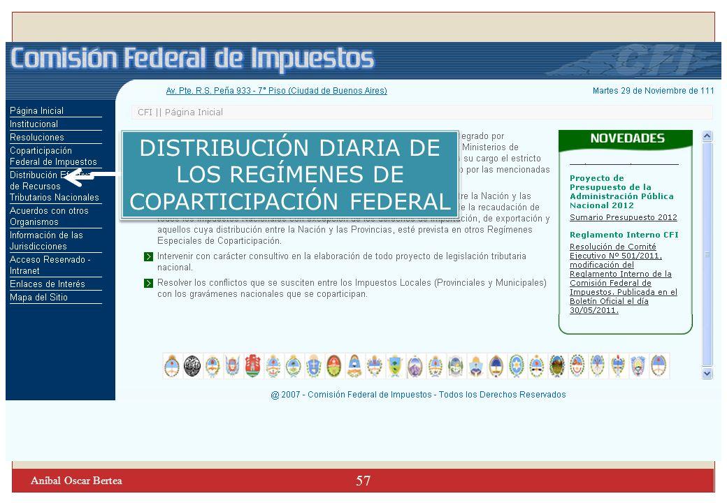57 DISTRIBUCIÓN DIARIA DE LOS REGÍMENES DE COPARTICIPACIÓN FEDERAL