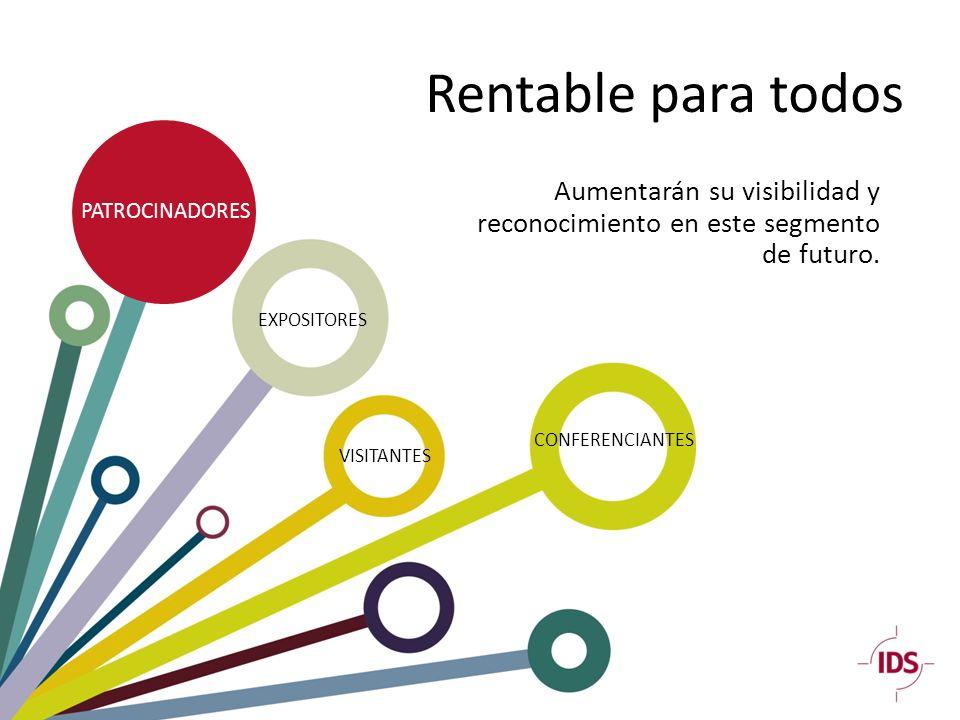 Rentable para todos PATROCINADORES EXPOSITORES CONFERENCIANTES VISITANTES Aumentarán su visibilidad y reconocimiento en este segmento de futuro.