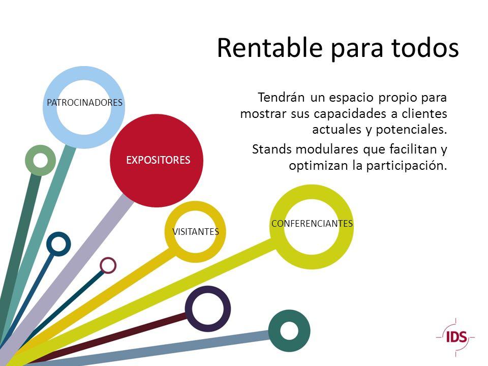 Rentable para todos PATROCINADORES EXPOSITORES CONFERENCIANTES VISITANTES Tendrán un espacio propio para mostrar sus capacidades a clientes actuales y potenciales.