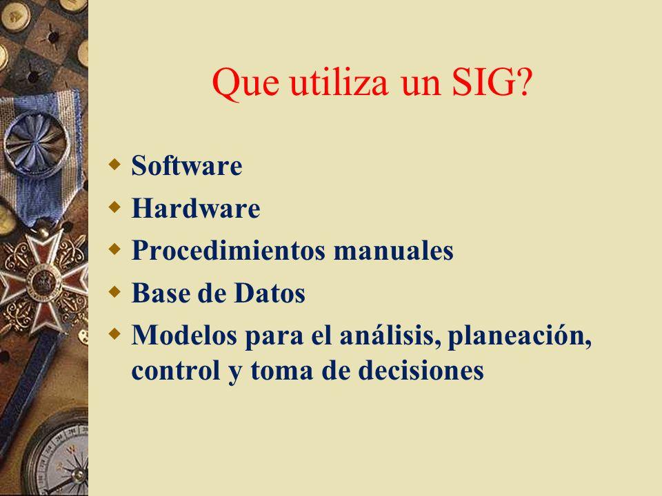 Que utiliza un SIG? Software Hardware Procedimientos manuales Base de Datos Modelos para el análisis, planeación, control y toma de decisiones