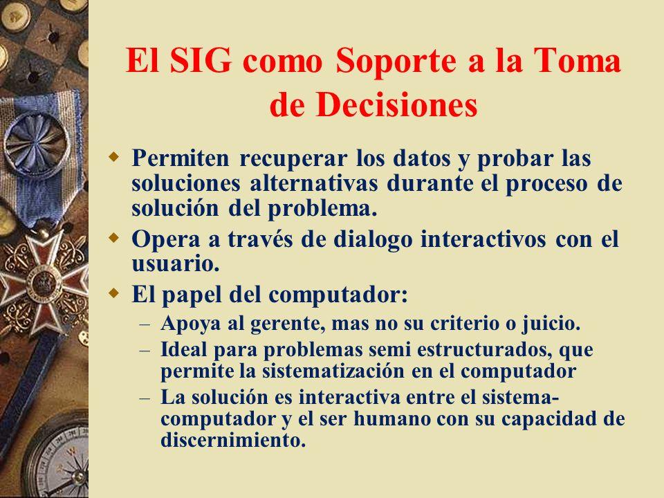 El SIG como Soporte a la Toma de Decisiones Permiten recuperar los datos y probar las soluciones alternativas durante el proceso de solución del probl