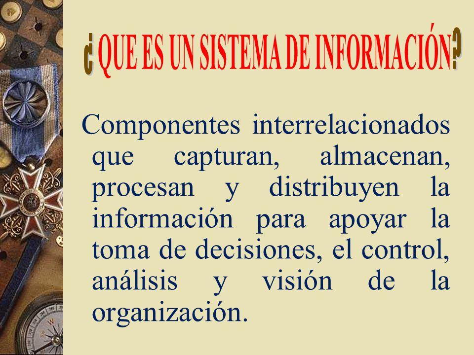 Componentes interrelacionados que capturan, almacenan, procesan y distribuyen la información para apoyar la toma de decisiones, el control, análisis y