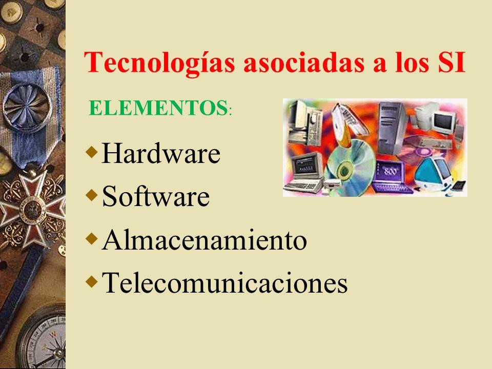 Tecnologías asociadas a los SI Hardware Software Almacenamiento Telecomunicaciones ELEMENTOS :