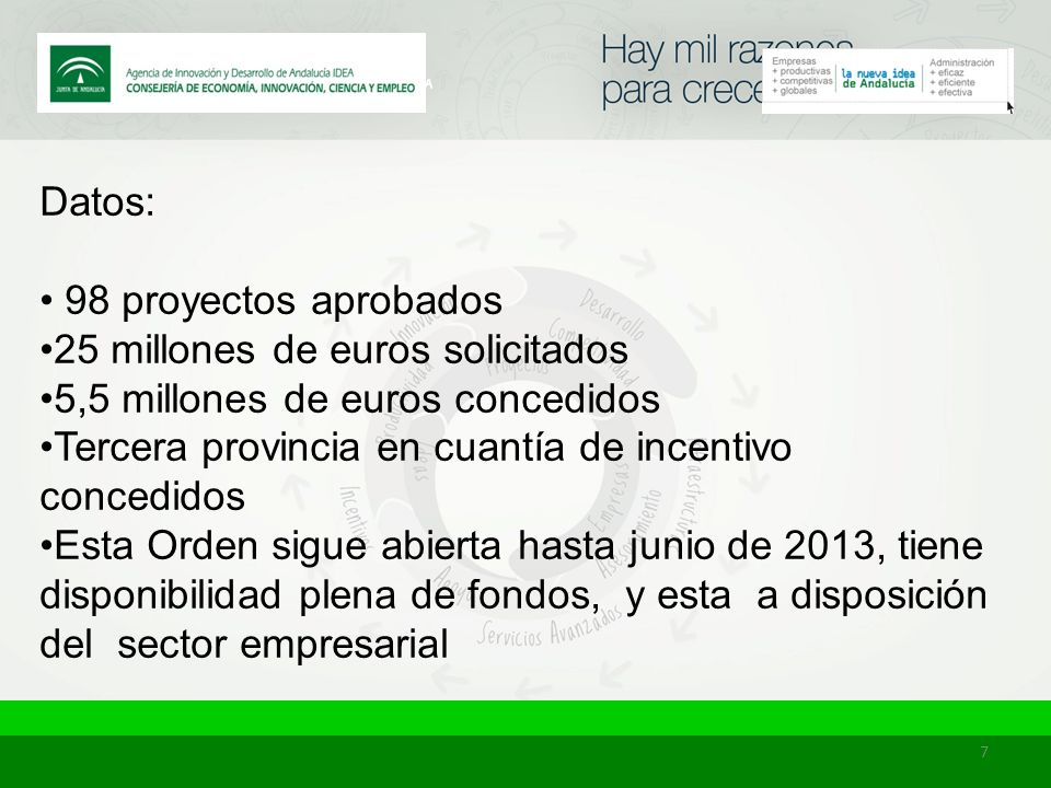 7 Datos: 98 proyectos aprobados 25 millones de euros solicitados 5,5 millones de euros concedidos Tercera provincia en cuantía de incentivo concedidos Esta Orden sigue abierta hasta junio de 2013, tiene disponibilidad plena de fondos, y esta a disposición del sector empresarial