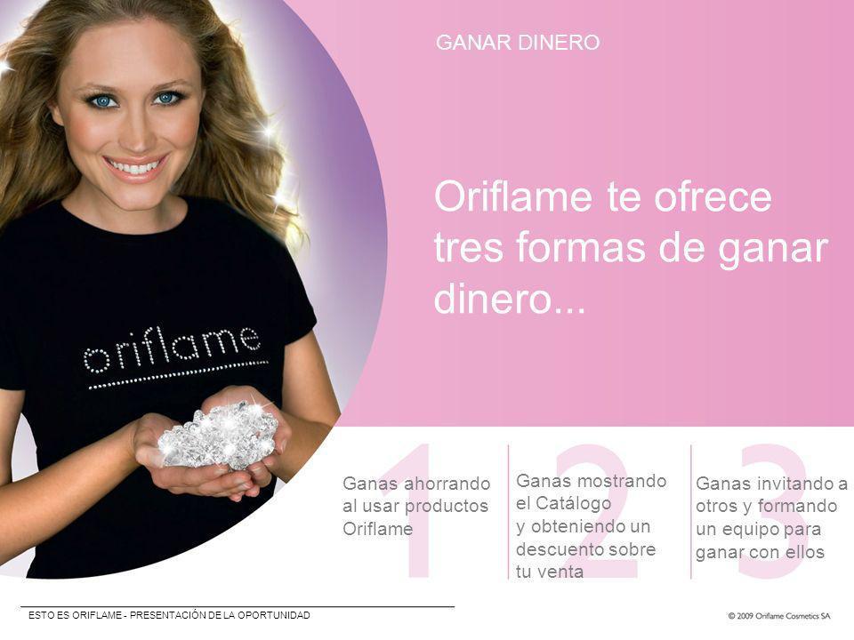 GANAR DINERO Oriflame te ofrece tres formas de ganar dinero... Ganas ahorrando al usar productos Oriflame Ganas mostrando el Catálogo y obteniendo un