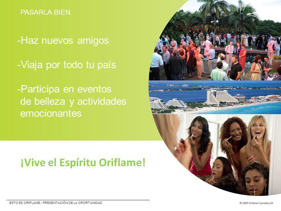 PASARLA BIEN -Haz nuevos amigos -Viaja por todo tu país -Participa en eventos de belleza y actividades emocionantes ¡Vive el Espíritu Oriflame! ESTO E