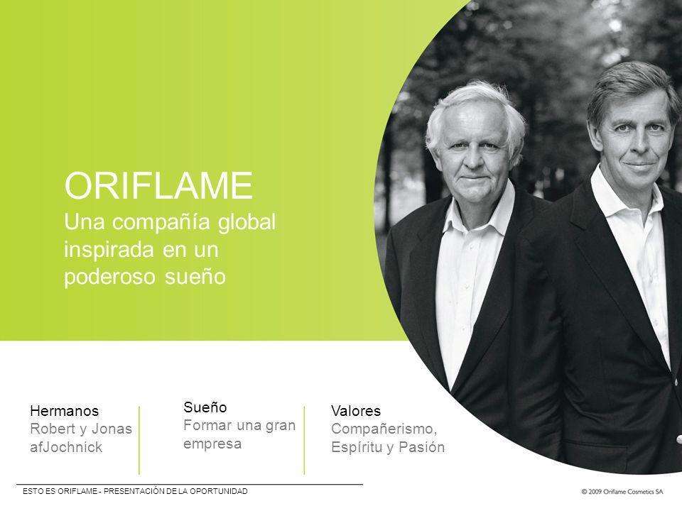 ORIFLAME Una compañía global inspirada en un poderoso sueño Hermanos Robert y Jonas afJochnick Sueño Formar una gran empresa Valores Compañerismo, Esp