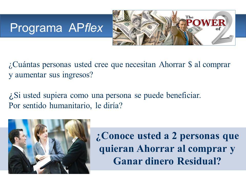 The Company Programa APflex ¿Conoce usted a 2 personas que quieran Ahorrar al comprar y Ganar dinero Residual? ¿Cuántas personas usted cree que necesi