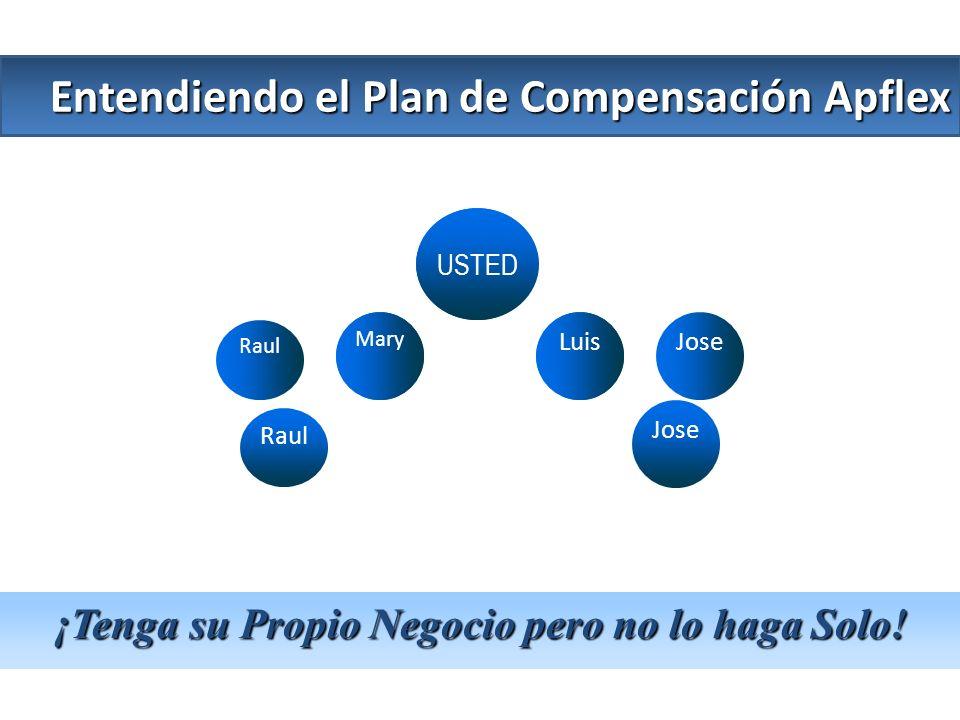 USTED LuisJose Raul Mary Jose Raul Entendiendo el Plan de Compensación Apflex ¡Tenga su Propio Negocio pero no lo haga Solo! Luis Mary USTED