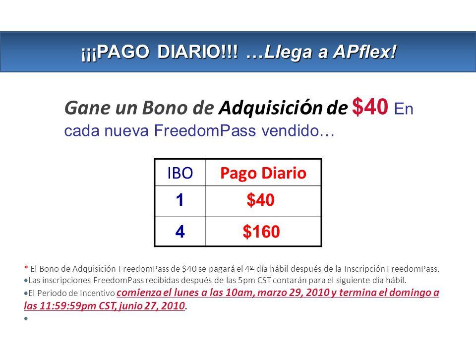 Gane un Bono de Adquisici ó n de $40 En cada nueva FreedomPass vendido… * El Bono de Adquisición FreedomPass de $40 se pagará el 4 o día hábil después