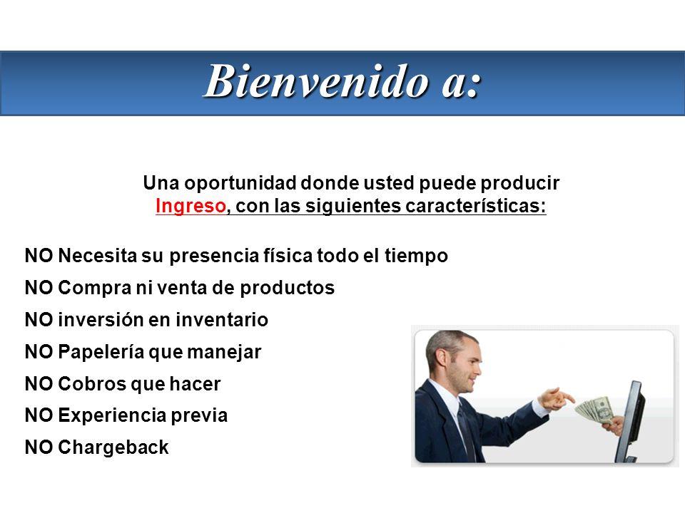 Una oportunidad donde usted puede producir Ingreso, con las siguientes características: NO Necesita su presencia física todo el tiempo NO Compra ni ve
