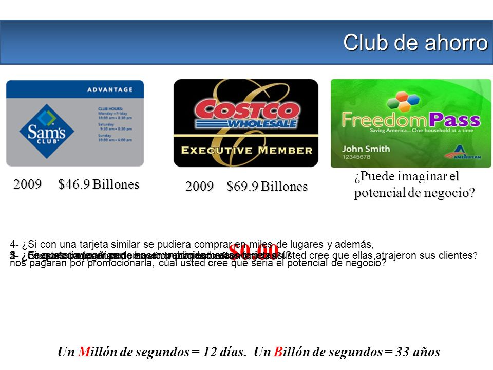 2009 $46.9 Billones 2009 $69.9 Billones 2- ¿Si estas compañías no hacen publicidad masiva, como usted cree que ellas atrajeron sus clientes ? 3- ¿ Cua