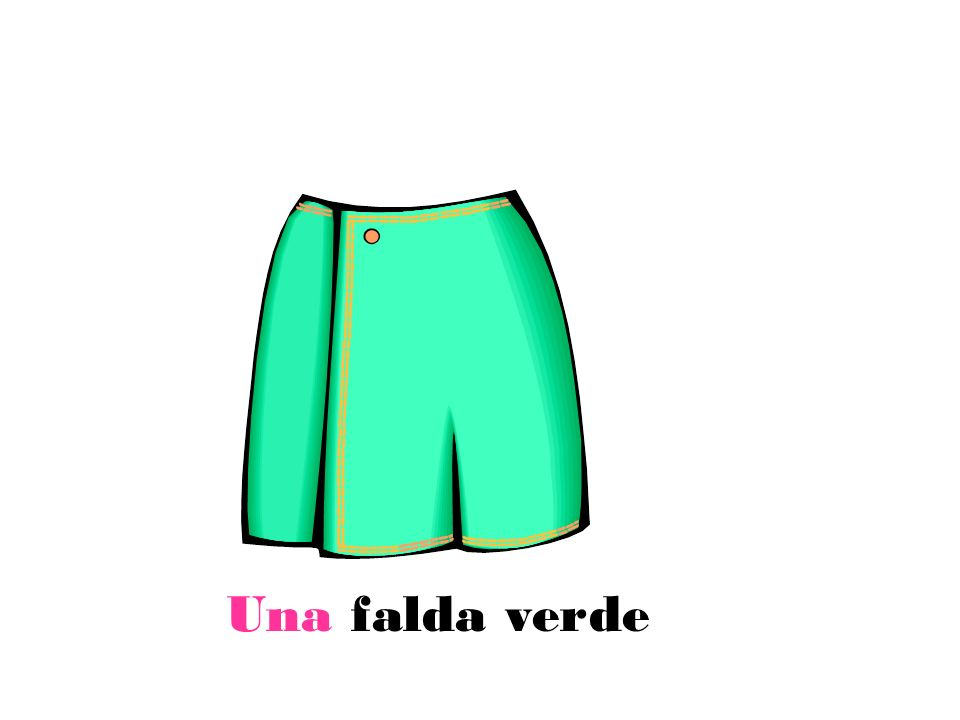 Ejercicio Translate in Spanish 1)A white shirt 2)A black t-shirt 3)Red socks 4)Red dresses 5)Pink skirts 6)A green skirt 7)A green jumper Ext: Challenge yourself by writing 3 other names of clothes+colour in the correct order with correct adjectival agreement.