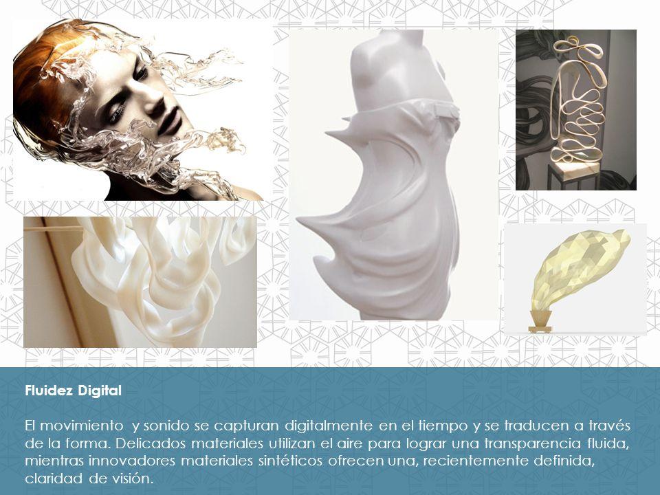 Fluidez Digital El movimiento y sonido se capturan digitalmente en el tiempo y se traducen a través de la forma. Delicados materiales utilizan el aire