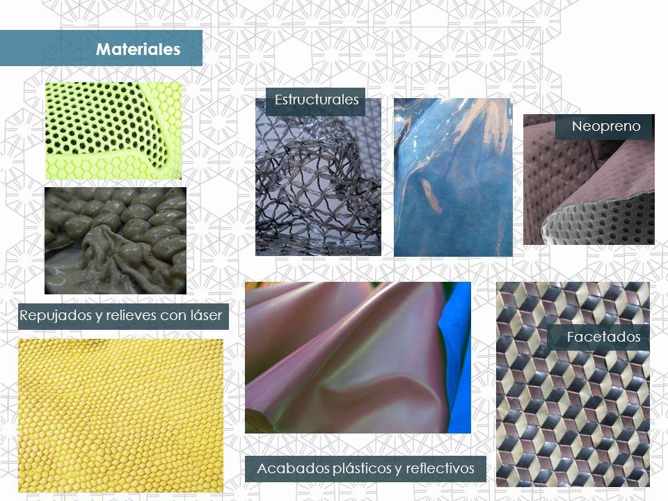 Materiales Acabados plásticos y reflectivos Repujados y relieves con láser Neopreno Facetados Estructurales