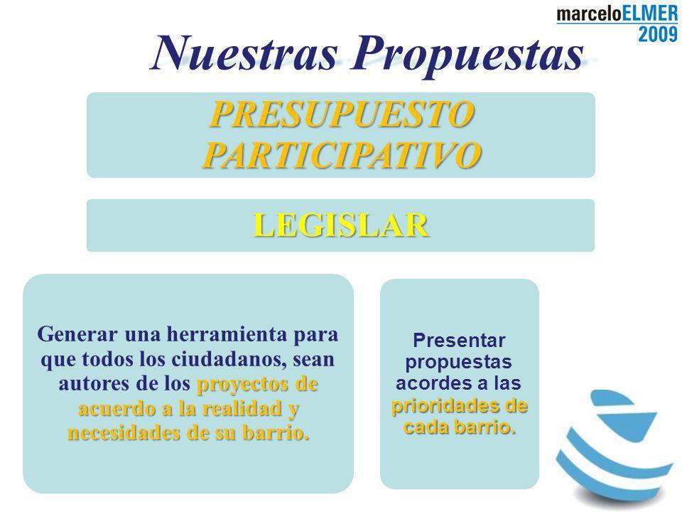 Nuestras Propuestas PRESUPUESTO PARTICIPATIVO LEGISLAR proyectos de acuerdo a la realidad y necesidades de su barrio.