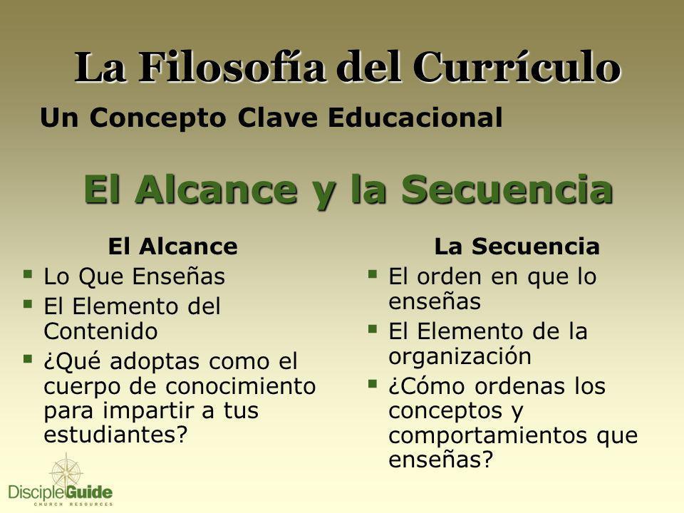 La Filosofía del Currículo Un Concepto Clave Educacional El Alcance y la Secuencia El Alcance Lo Que Enseñas El Elemento del Contenido ¿Qué adoptas co