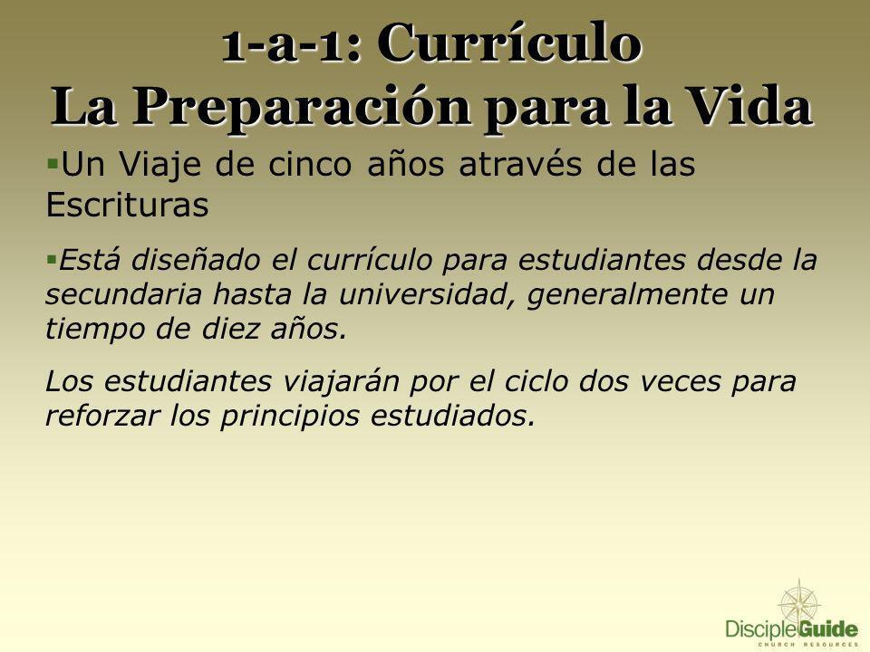 1-a-1: Currículo La Preparación para la Vida Un Viaje de cinco años através de las Escrituras Está diseñado el currículo para estudiantes desde la sec