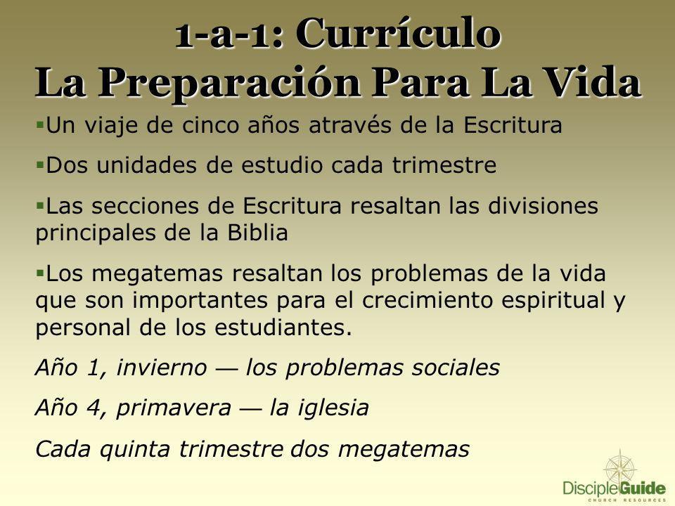 1-a-1: Currículo La Preparación Para La Vida Un viaje de cinco años através de la Escritura Dos unidades de estudio cada trimestre Las secciones de Es