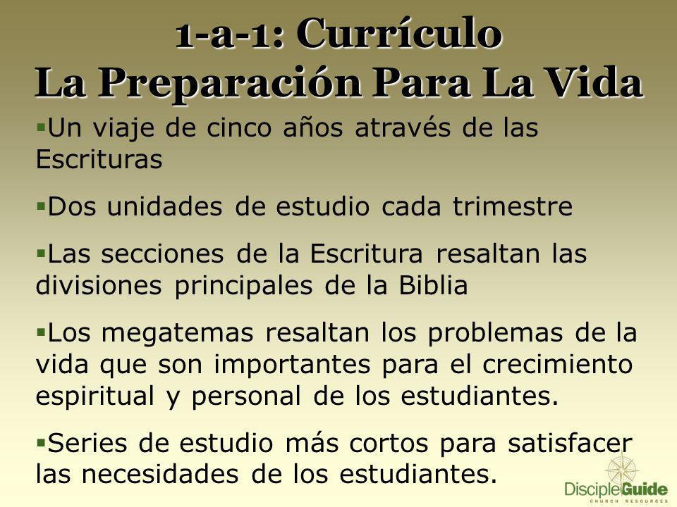 1-a-1: Currículo La Preparación Para La Vida Un viaje de cinco años através de las Escrituras Dos unidades de estudio cada trimestre Las secciones de