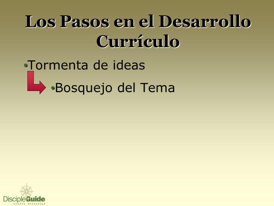Los Pasos en el Desarrollo Currículo Tormenta de ideas Bosquejo del Tema