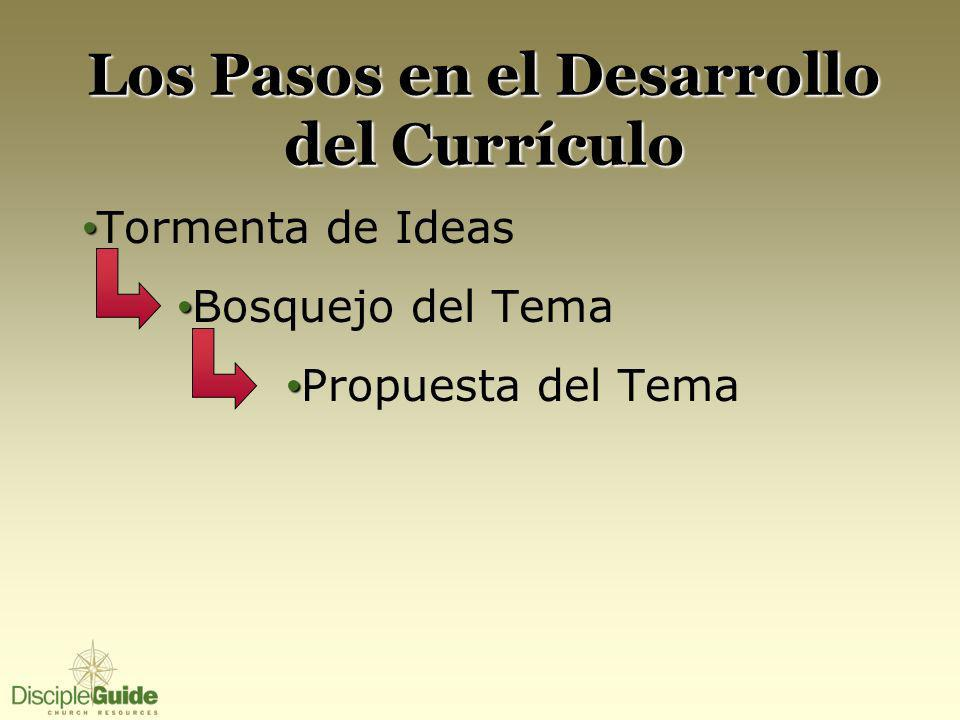 Los Pasos en el Desarrollo del Currículo Tormenta de Ideas Bosquejo del Tema Propuesta del Tema