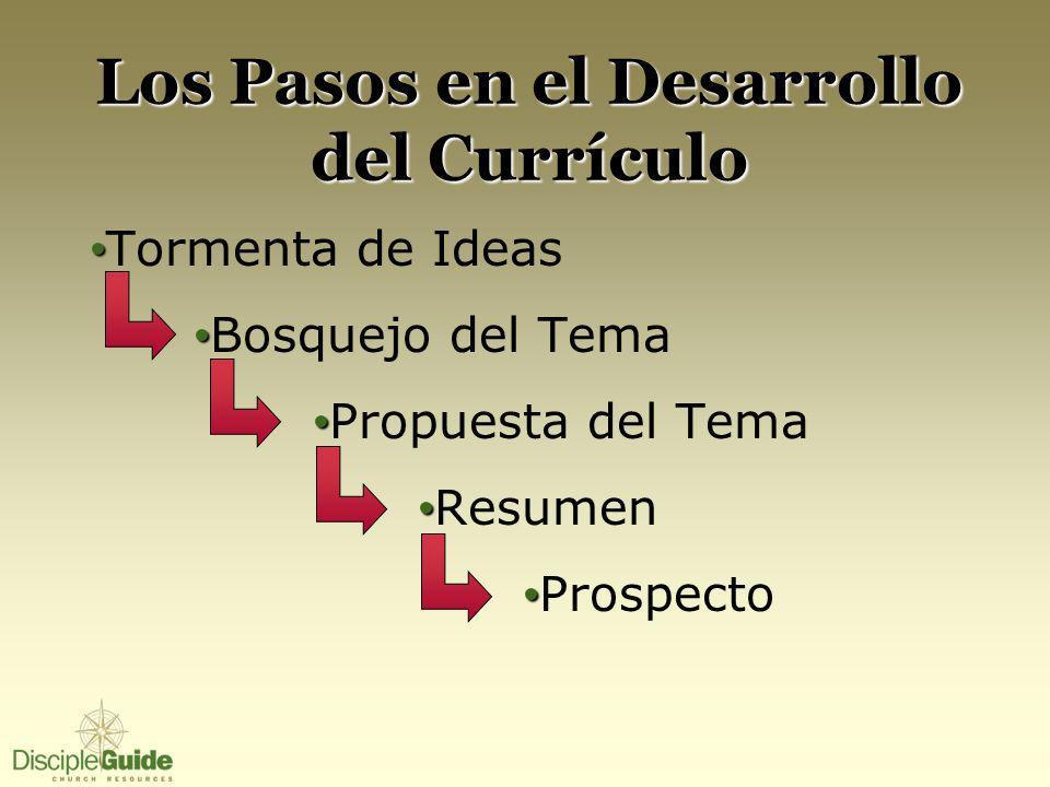 Los Pasos en el Desarrollo del Currículo Tormenta de Ideas Bosquejo del Tema Propuesta del Tema Resumen Prospecto