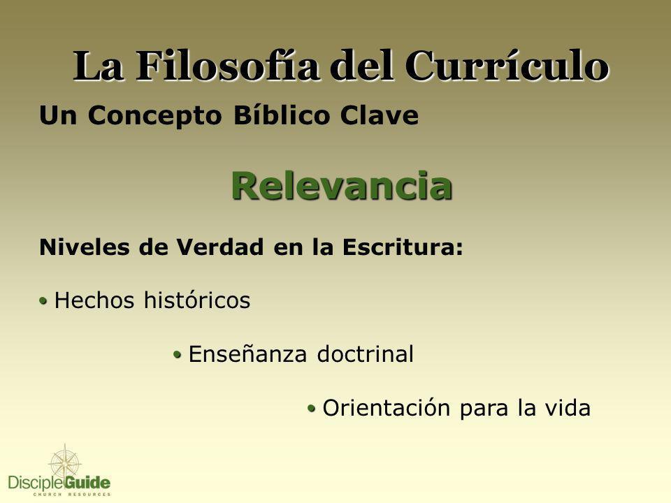 La Filosofía del Currículo Un Concepto Bíblico ClaveRelevancia Niveles de Verdad en la Escritura: Hechos históricos Enseñanza doctrinal Orientación pa