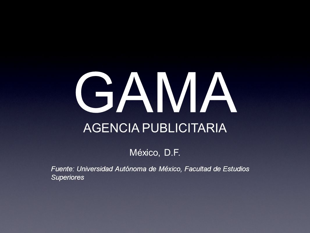GAMA AGENCIA PUBLICITARIA México, D.F. Fuente: Universidad Autónoma de México, Facultad de Estudios Superiores