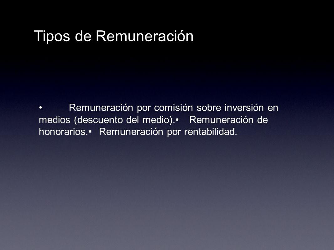 Tipos de Remuneración Remuneración por comisión sobre inversión en medios (descuento del medio).Remuneración de honorarios.Remuneración por rentabilid