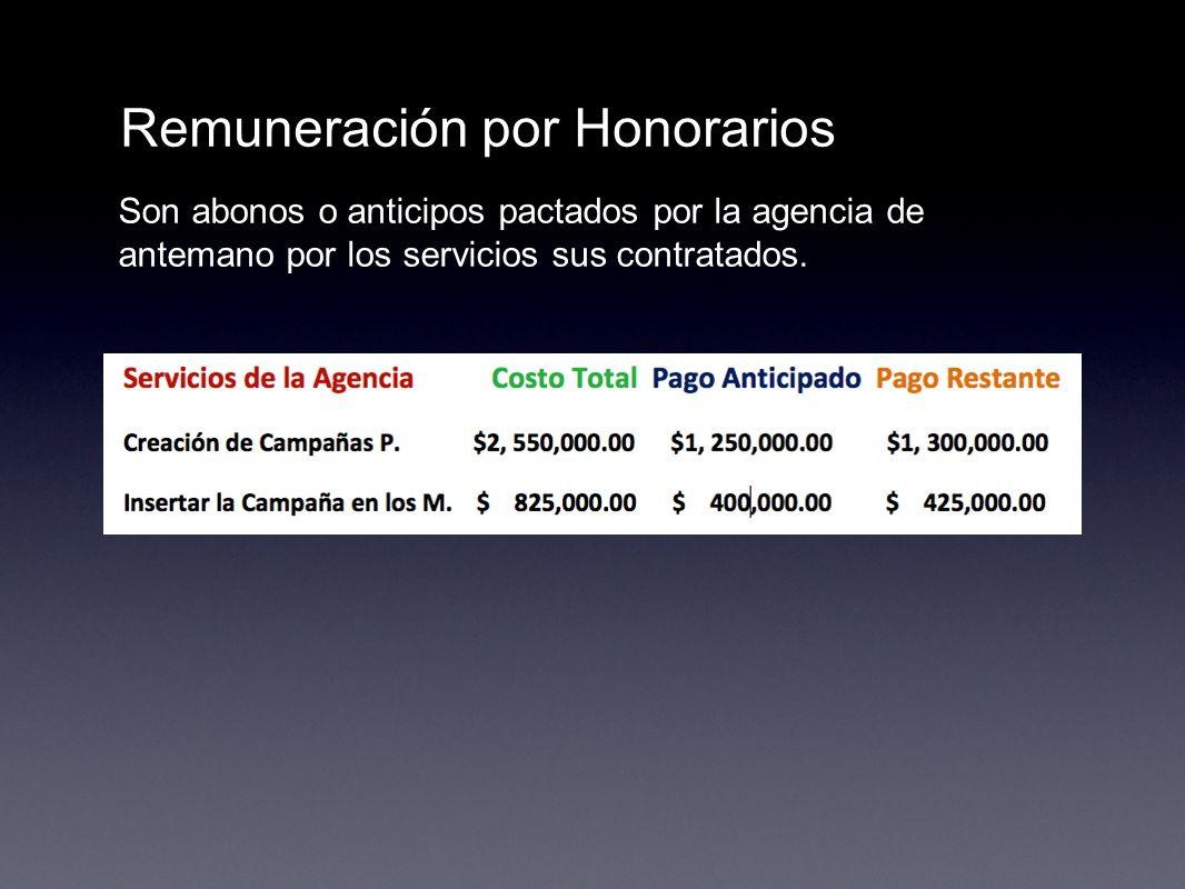 Remuneración por Honorarios Son abonos o anticipos pactados por la agencia de antemano por los servicios sus contratados.