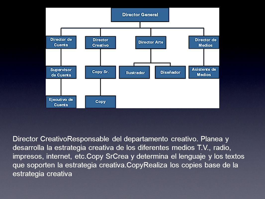 Director CreativoResponsable del departamento creativo. Planea y desarrolla la estrategia creativa de los diferentes medios T.V., radio, impresos, int