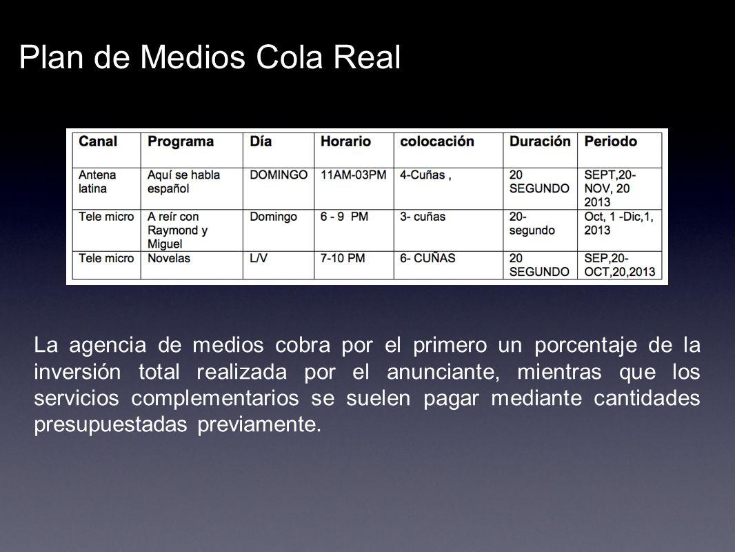 Plan de Medios Cola Real La agencia de medios cobra por el primero un porcentaje de la inversión total realizada por el anunciante, mientras que los s