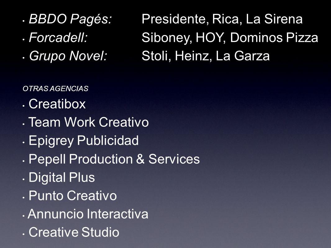 BBDO Pagés: Presidente, Rica, La Sirena Forcadell: Siboney, HOY, Dominos Pizza Grupo Novel: Stoli, Heinz, La Garza OTRAS AGENCIAS Creatibox Team Work