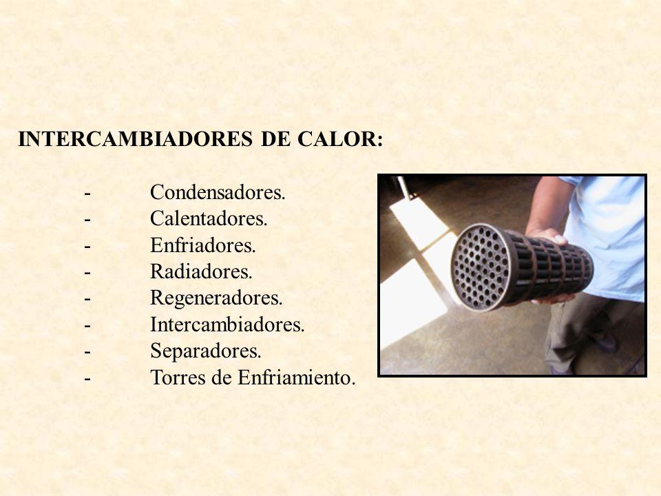 INTERCAMBIADORES DE CALOR: -Condensadores. -Calentadores. -Enfriadores. -Radiadores. -Regeneradores. -Intercambiadores. -Separadores. -Torres de Enfri