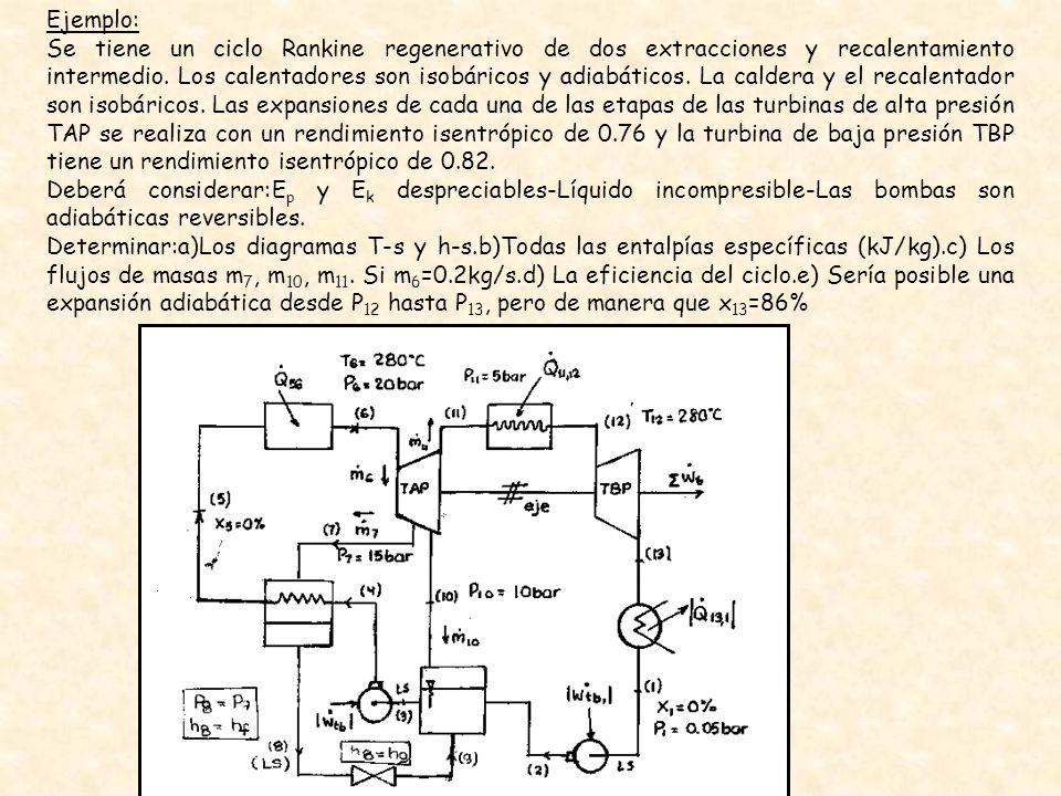 Ejemplo: Se tiene un ciclo Rankine regenerativo de dos extracciones y recalentamiento intermedio. Los calentadores son isobáricos y adiabáticos. La ca