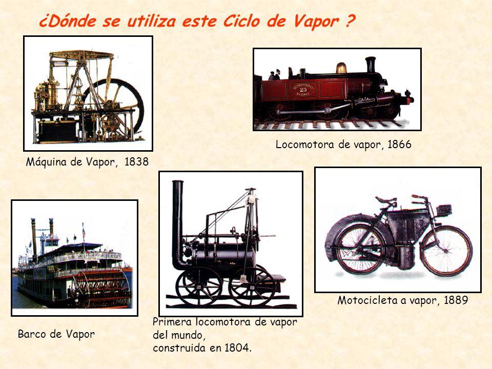 ¿Dónde se utiliza este Ciclo de Vapor ? Máquina de Vapor, 1838 Primera locomotora de vapor del mundo, construida en 1804. Barco de Vapor Motocicleta a
