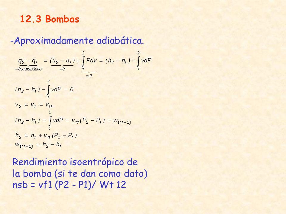 12.3 Bombas -Aproximadamente adiabática. Rendimiento isoentrópico de la bomba (si te dan como dato) nsb = vf1 (P2 - P1)/ Wt 12