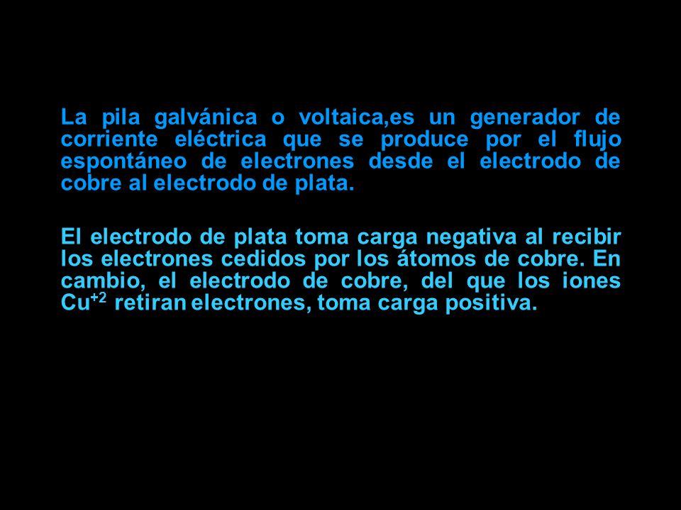 La pila galvánica o voltaica,es un generador de corriente eléctrica que se produce por el flujo espontáneo de electrones desde el electrodo de cobre a