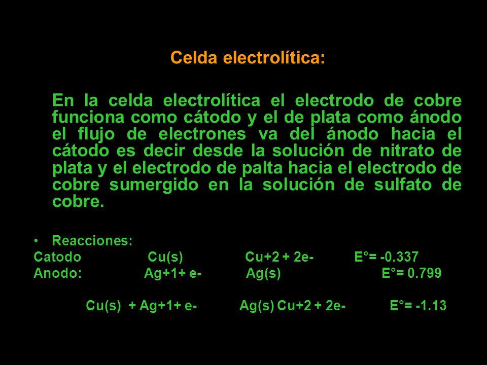 Celda electrolítica: En la celda electrolítica el electrodo de cobre funciona como cátodo y el de plata como ánodo el flujo de electrones va del ánodo