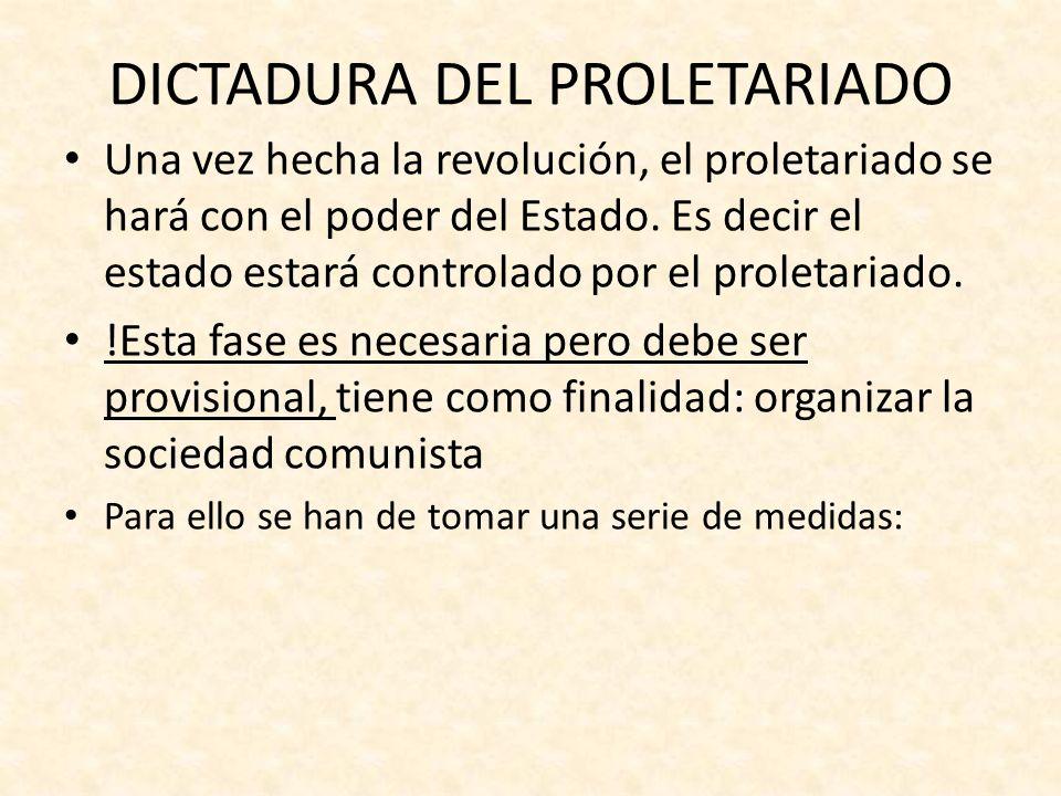 medidas de esta fase Abolir la propiedad privada Socializar los medios de producción que pasarán a ser del Estado.